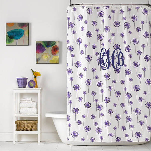 Purple Dandelion Shower Curtain Monogrammed