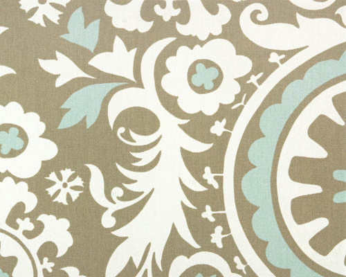 Pale Blue and Taupe Suzani Fabric by the Yard