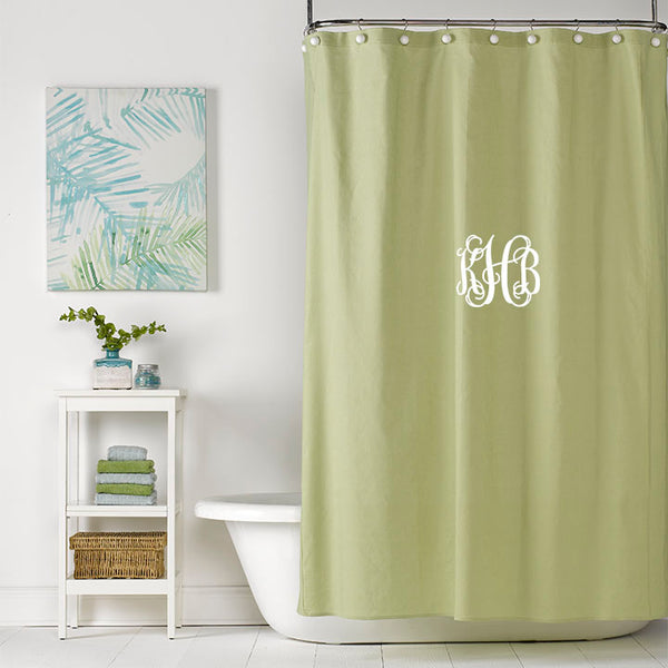 Spring Green Linen Shower Curtain Monogrammed
