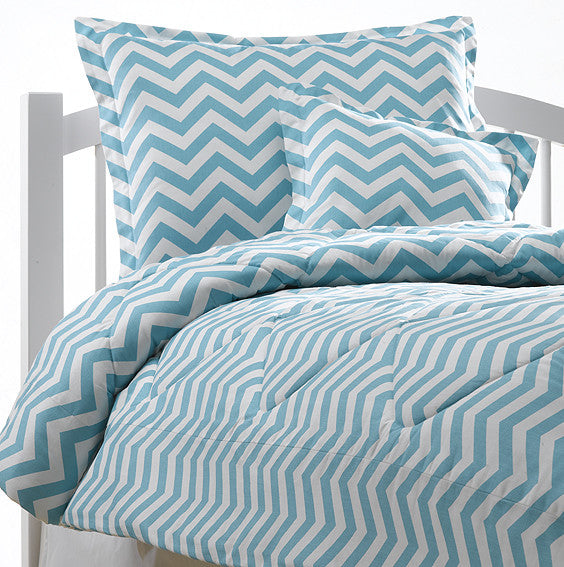 Queen Tiffany Blue Chevron Bedding Set American Made