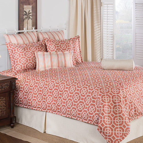 coral tileworks comforter set by victor mill