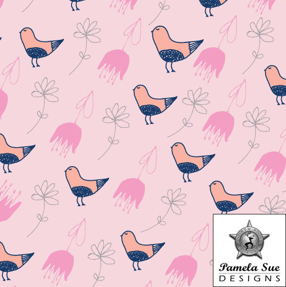 Bird and flower pattern design in pink and navy by Pamela Sue Designs - North Pole, Alaska