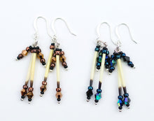 Load image into Gallery viewer, Porcupine Quill Earrings - Alaska Gold or Northern Lights, made with porcupine quills and Czech beads. Available from santaslettersandgifts.com in North Pole, Alaska.