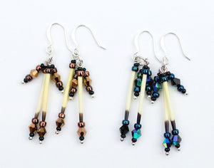 Porcupine Quill Earrings - Alaska Gold or Northern Lights, made with porcupine quills and Czech beads. Available from santaslettersandgifts.com in North Pole, Alaska.