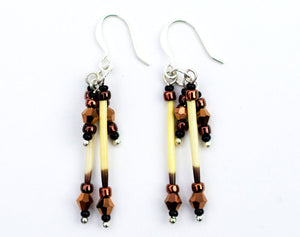 Porcupine Quill Earrings - Alaska Gold, made with porcupine quills and Czech beads. Available from santaslettersandgifts.com in North Pole, Alaska.