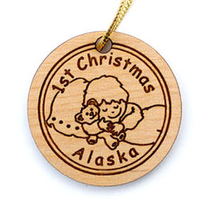 Baby's First Christmas Ornament, made from Alaska Birch and available at Santa's Letters and Gifts-North Pole, Alaska