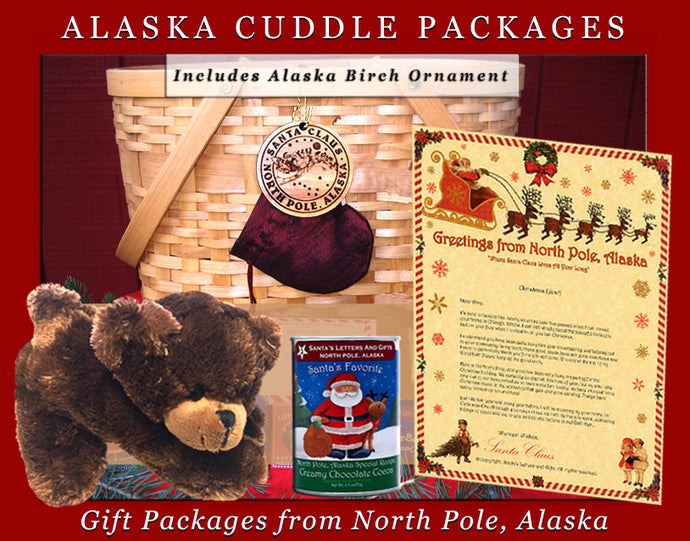 Alaska Cuddle Packages - Brown Bear, are one-of-a-kind gifts shipped in colorful mailing tubes stuffed with Alaskan gifts including a cuddly Alaska Critter, a personalized letter from Santa, a custom Birch Ornament from Alaska, North Pole Hot Cocoa and 2-3 Polar Bear Smooch Chocolate candies. Available from Santa's Letters and Gifts in North Pole, Alaska.