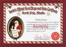 "Load image into Gallery viewer, Sample of ""personalized"" Good Boys and Girls Certificate from North Pole, Alaska."