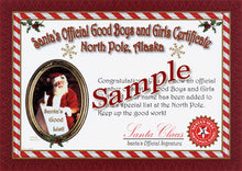"Load image into Gallery viewer, Sample of ""non-personalized"" Good Boys and Girls Certificate from North Pole, Alaska. for teens, adults or pets."