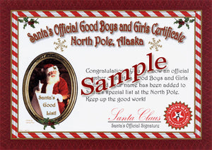 "Sample of ""non-personalized"" Good Boys and Girls Certificate from North Pole, Alaska. for teens, adults or pets."