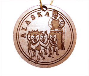 Dog Musher Ornament, made from Alaska Birch and available at Santa's Letters and Gifts-North Pole, Alaska