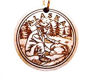 Gold Miner Ornament, made from Alaska Birch and available at Santa's Letters and Gifts-North Pole, Alaska