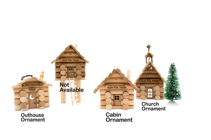 Samples of Alaskan Log Cabin Kits and Ornament Kits.