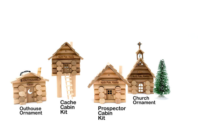 Sample of our Log Cabin Kits and Ornament Kits made from real logs.