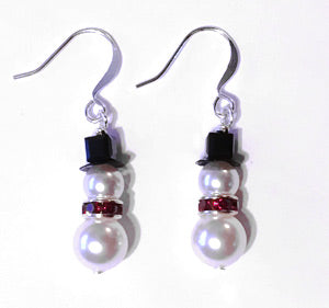 Snowman Earrings - Pearl & Swarovski red crystal center. Available from Santa's Letters and Gifts in North Pole, Alaska. Include a pair with our Deluxe Santa Letter and Tube Package during the Christmas Season.