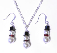 Load image into Gallery viewer, Snowman Earrings & Necklace Set - Pearl & Swarovski Crystal - santaslettersandgifts