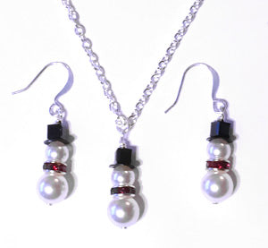 Snowman Earrings & Necklace Set - Pearl & Swarovski Crystal - santaslettersandgifts