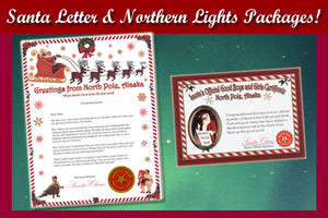 Santa Letter and Northern Lights Packages showcase Alaska's Northern Lights with a personalized letter from Santa and complimentary Good Boys and Girls Certificate! Available from Santa's Letters and Gifts in North Pole, Alaska.