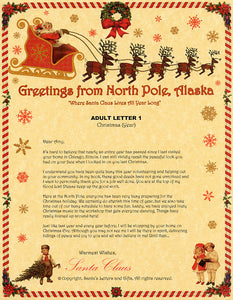 Deluxe Santa Letter and Tube Package for Teens, Adults and Pets, Adult Letter 1 shown. Available from Santa's Letters and Gifts in North Pole, Alaska.
