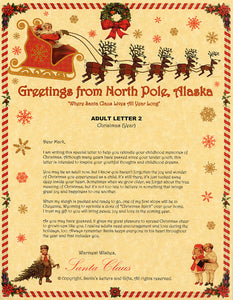 Deluxe Santa Letter and Tube Package for Teens, Adults and Pets, Adult Letter 2 shown. Available from Santa's Letters and Gifts in North Pole, Alaska.