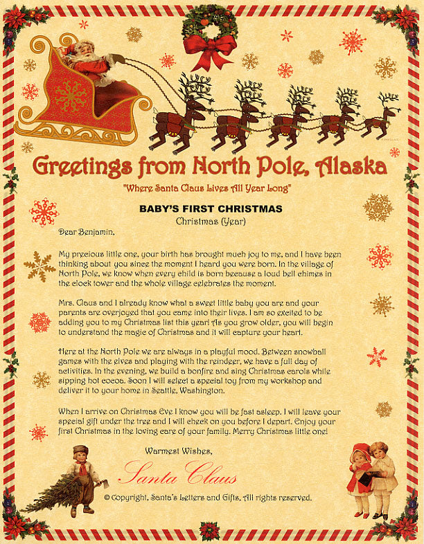 Deluxe Santa Letter and Tube Package for Babies and Kids. Babies First Christmas Letter shown. Available from Santa's Letters and Gifts in North Pole, Alaska.