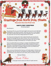 Load image into Gallery viewer, Santa Letter and Northern Lights Package for Babies and Kids, Babies First Christmas Letter shown. Available from Santa's Letters and Gifts in North Pole, Alaska.