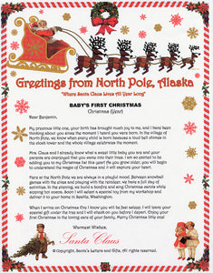 Santa Letter and Northern Lights Package for Babies and Kids, Babies First Christmas Letter shown. Available from Santa's Letters and Gifts in North Pole, Alaska.