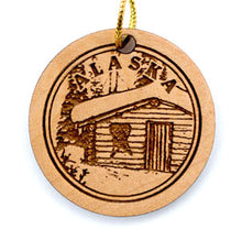 Load image into Gallery viewer, Cabin Ornament, made from Alaska Birch and available at Santa's Letters and Gifts-North Pole, Alaska