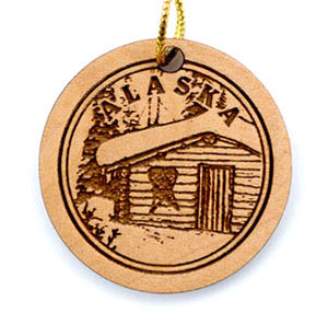 Cabin Ornament, made from Alaska Birch and available at Santa's Letters and Gifts-North Pole, Alaska