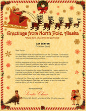 Load image into Gallery viewer, Deluxe Santa Letter and Tube Package for Teens, Adults and Pets, Cat Letter shown. Available from Santa's Letters and Gifts in North Pole, Alaska.