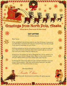 Deluxe Santa Letter and Tube Package for Teens, Adults and Pets, Cat Letter shown. Available from Santa's Letters and Gifts in North Pole, Alaska.