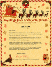 Load image into Gallery viewer, Deluxe Santa Letter and Tube Package for Teens, Adults and Pets, Dog Letter shown. Available from Santa's Letters and Gifts in North Pole, Alaska.