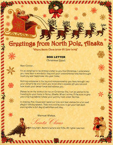 Deluxe Santa Letter and Tube Package for Teens, Adults and Pets, Dog Letter shown. Available from Santa's Letters and Gifts in North Pole, Alaska.