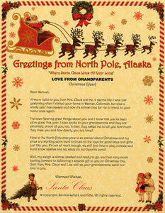 Deluxe Santa Letter and Tube Package for Babies and Kids. Love from Grandparents Letter shown. Available from Santa's Letters and Gifts in North Pole, Alaska.