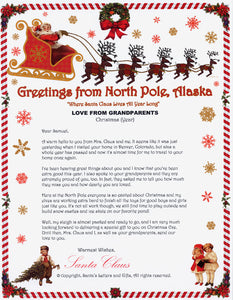 Santa Letter and Northern Lights Package for Babies and Kids. Love from Grandparents letter shown. Available from Santa's Letters and Gifts in North Pole, Alaska.