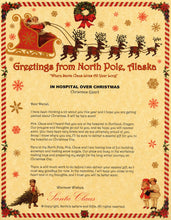 Load image into Gallery viewer, Deluxe Santa Letter and Tube Package for Teens, Adults and Pets. In Hospital Over Christmas shown. Available from Santa's Letters and Gifts in North Pole, Alaska.