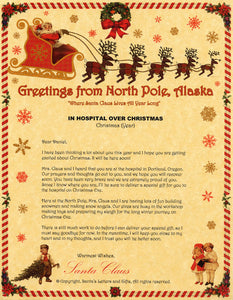 Deluxe Santa Letter and Tube Package for Teens, Adults and Pets. In Hospital Over Christmas shown. Available from Santa's Letters and Gifts in North Pole, Alaska.