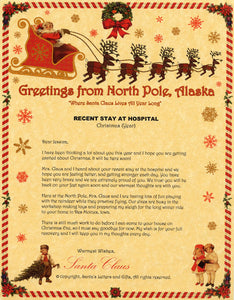 Deluxe Santa Letter and Tube Package for Teens, Adults and Pets. Recent Stay in Hospital shown. Available from Santa's Letters and Gifts in North Pole, Alaska.