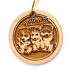 Huskies Ornament, made from Alaska Birch and available at Santa's Letters and Gifts-North Pole, Alaska