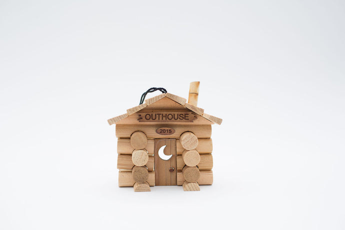 Build this Outhouse Ornament made from real logs and available at Santa's Letters and Gifts-North Pole, Alaska