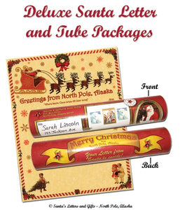 "Deluxe Santa Letter and Tube Packages for Babies and Kids from Santa's Letters and Gifts in North Pole, Alaska. Packages include a personalized letter from Santa printed on parchment paper, a Christmas sticker and North Pole snowflakes, tucked inside our custom North Pole Christmas tube. You may also choose a ""personalized or non-personalized"" Good Boys and Girls Certificate to include with this package. Add-on Gifts include custom birch ornaments, Eskimo and angel ornaments and dazzling snowman earrings."