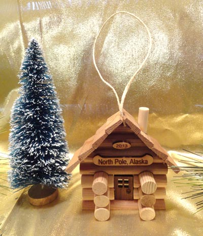 Build this Cabin Ornament made from real logs and available at Santa's Letters and Gifts-North Pole, Alaska