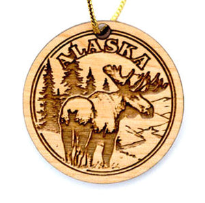 Moose Ornament, made from Alaska Birch and available at Santa's Letters and Gifts-North Pole, Alaska