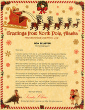 Load image into Gallery viewer, Deluxe Santa Letter and Tube Package for Teens, Adults and Pets, Non-Believer Letter shown. Available from Santa's Letters and Gifts in North Pole, Alaska.