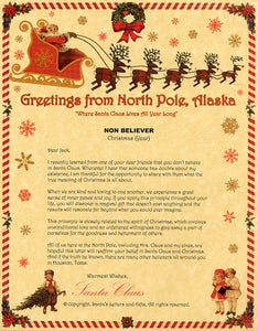 Deluxe Santa Letter and Tube Package for Teens, Adults and Pets, Non-Believer Letter shown. Available from Santa's Letters and Gifts in North Pole, Alaska.