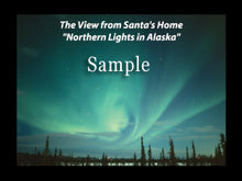 "Load image into Gallery viewer, Northern Lights photo card featuring the view from Santa's home in Alaska. Dimensions: 3"" x 4"""