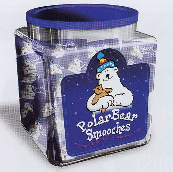 Polar Bear Smooches are kissed by two types of chocolate and a peppermint center. Canisters contain 40 pieces and are available from Santa's Letters and Gifts North Pole, Alaska.