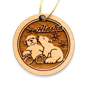 Polar Bears Ornament, made from Alaska Birch and available at Santa's Letters and Gifts-North Pole, Alaska