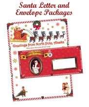 Load image into Gallery viewer, Our Santa Letter and Envelope Package includes a personalized letter from Santa, a beautiful Northern Lights photo card from Santa and our authentic foil seal from North Pole. Available at Santa's Letters and Gifts-North Pole, Alaska