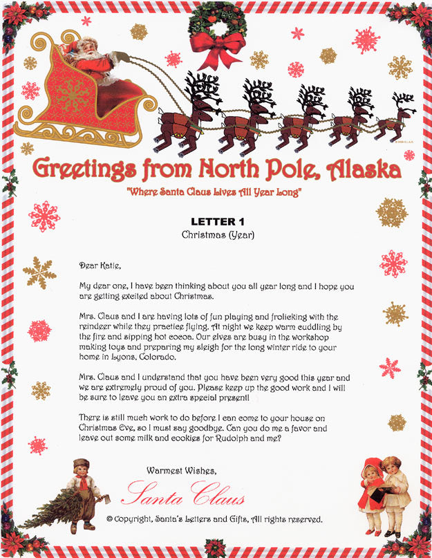 Santa Letter and Northern Lights Package for Babies and Kids, Letter 1 shown. Available from Santa's Letters and Gifts in North Pole, Alaska
